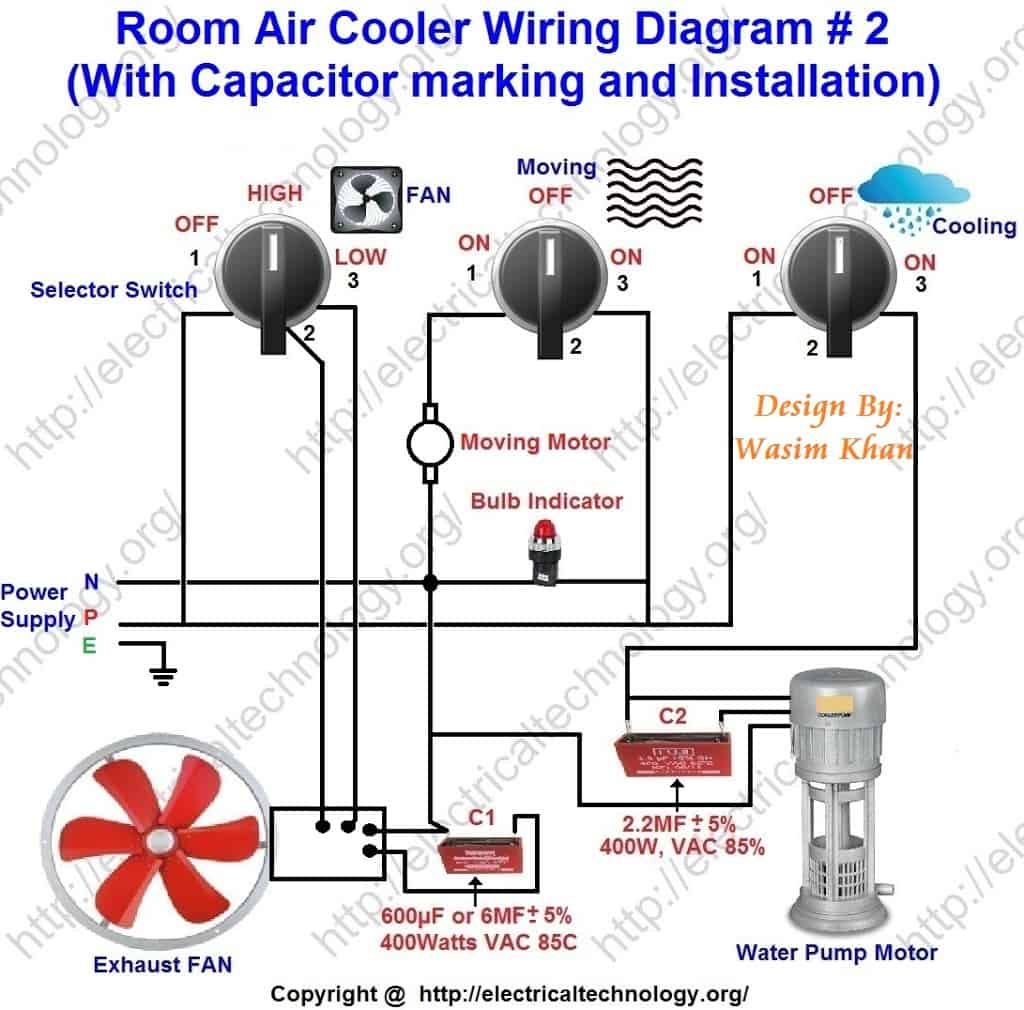 Room Air Cooler Wiring Diagram 2 With Capacitor Marking And Line Phone Installation