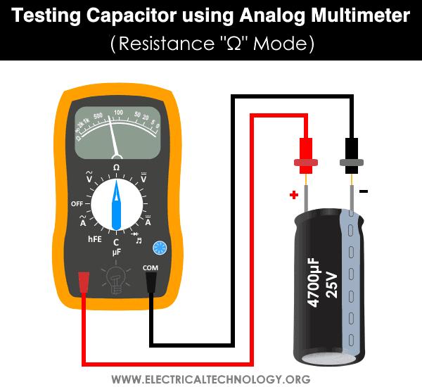 Testing Capacitor using Analog Multimeter - Resistance Ω Ohmmeter Mode