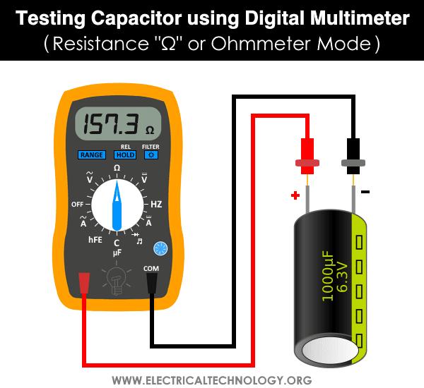 Testing Capacitor using Digital Multimeter - Resistance Ω or Ohmmeter Mode