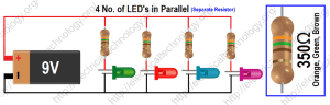 Formula for finding the value of resistor(s) for connecting LED's in Parallel With Separate resistor