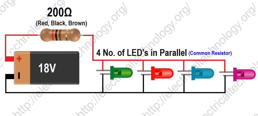 Formula for finding the value of resistors to connect LED's in Parallel With Common Resistor