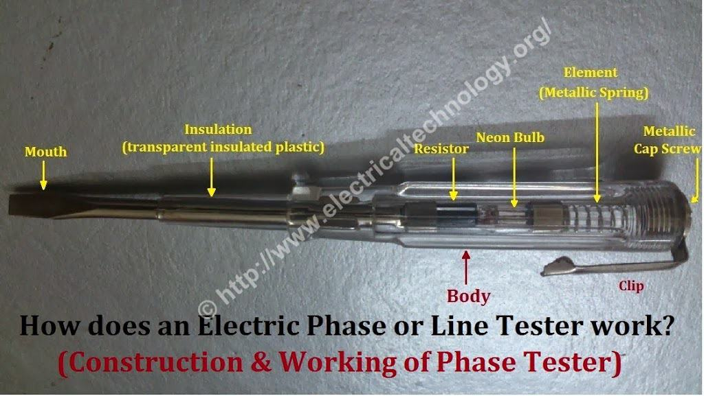 Electrical Line Tester : Electric phase or line tester construction and working