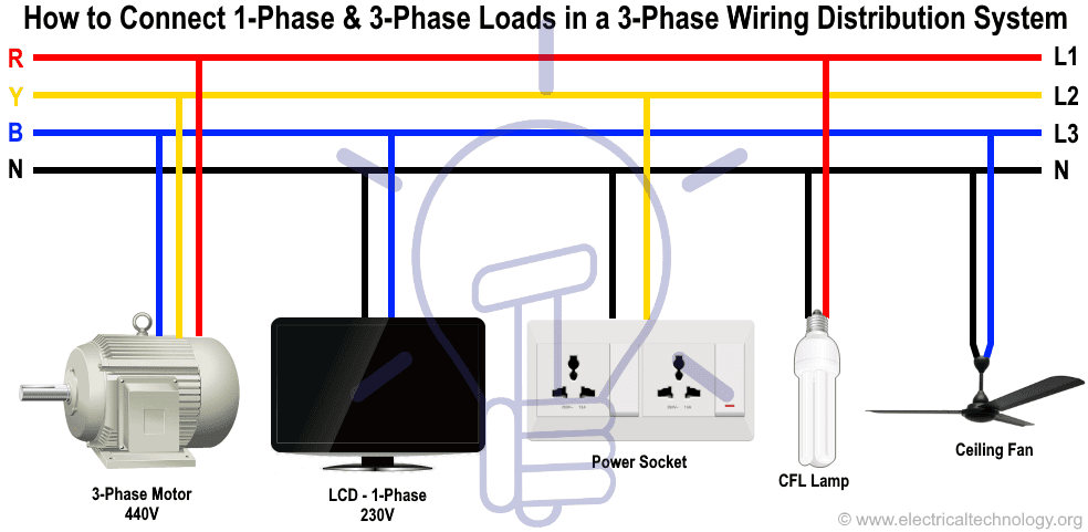 how to connect single phase & three phase loads in a three phase wiring  distribution system