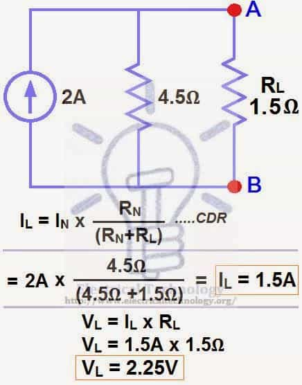 Finding the Load Current and Load Voltage through Norton's Theorem
