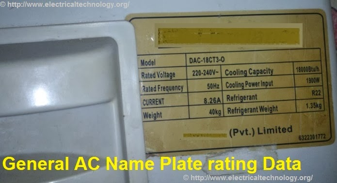 A general AC (Airconditioner )Name plate rating Data