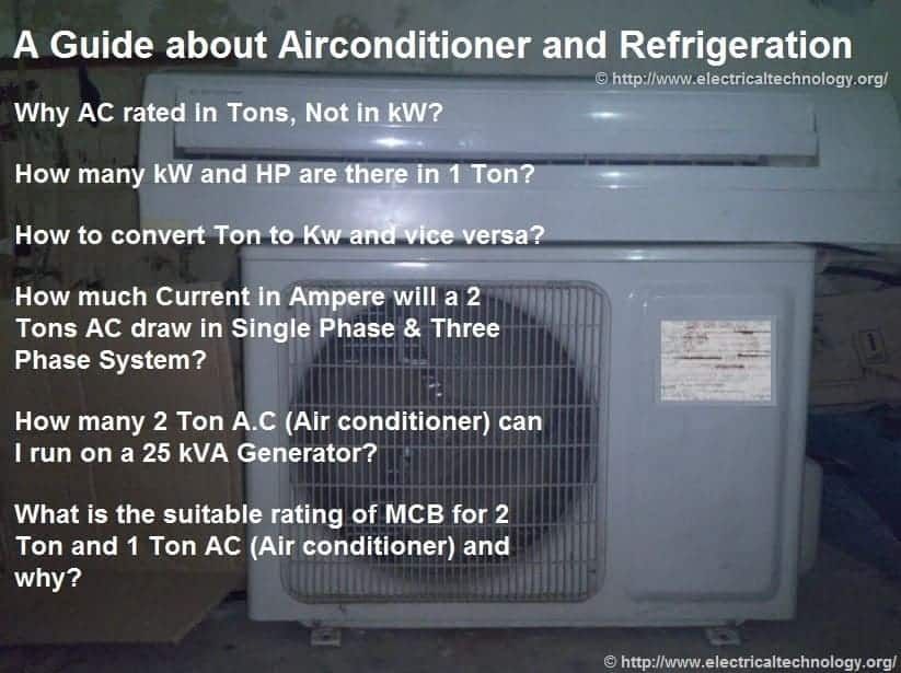 Why AC rated in Tons, Not in kW or kVA? - Electrical Technology