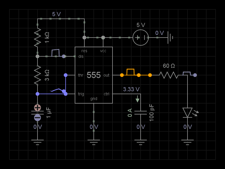 555 timer circuit embedded in everycircuit simulator