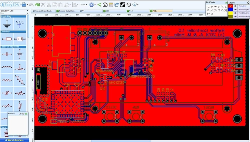 EasyEDA electronic circuit design, circuit simulation and PCB design