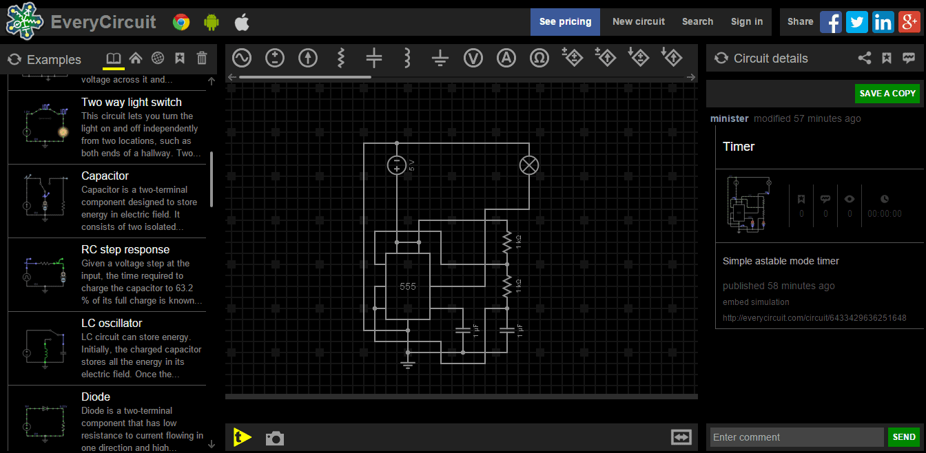 everycircuit online simulation tools