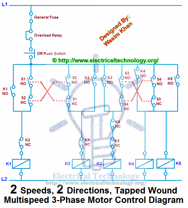 3 Phase 6 Lead Motor Wiring Diagram: Two Speeds, Two Directions Multispeed 3-phase Motor Power