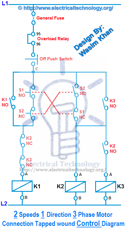 Two Speeds One Direction Three Phase Motor Connection Power & Control Diagrams