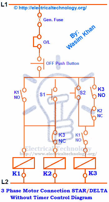 Star And Delta Control Wiring Diagram : Three phase motor connection star delta without timer