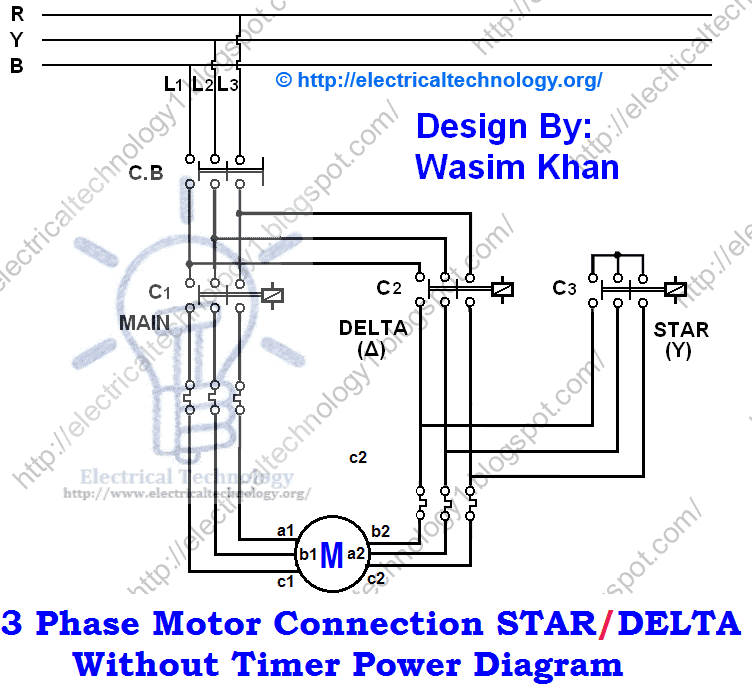 three phase motor connection star delta without timer power rh electricaltechnology org Star Delta Starter Wiring Diagramme Star Delta Wiring Diagram Coloring
