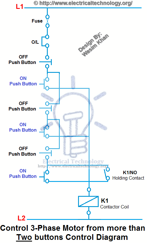 Control 3-Phase Motor from more than Two buttons