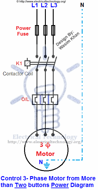 Control Wiring Diagram Of 3 Phase Motor : Control phase motor from more than two buttons