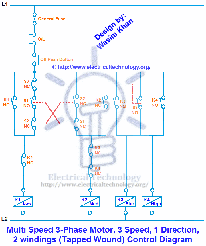 Multi Speed 3-phase Motor  3 Speeds  1 Direction  Power  U0026 Control Diagrams