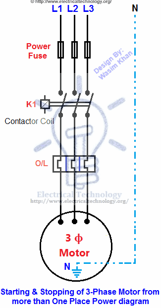 Starting & Stopping of 3-Phase Motor from more than One Place Power & Control diagrams