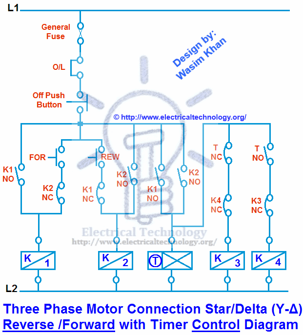 3 Phase Motor Connection Star/Delta (Y-Δ) Reverse / Forward with Timer Control Diagram