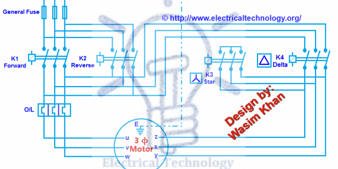 Three Phase Motor Connection Star Delta Reverse Forward with Timer Power Diagram 660x330 three phase motor connection star delta (y �) reverse forward star delta wiring diagram with timer at soozxer.org