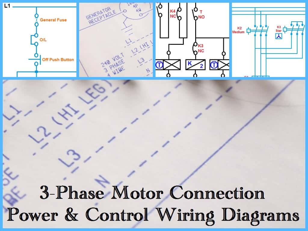 Control Wiring Diagram Of 3 Phase Motor : Three phase motor power control wiring diagrams