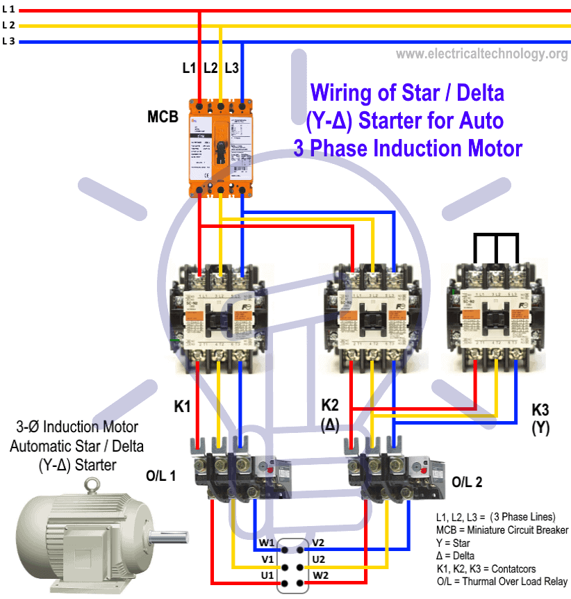 star-delta starter motor starting method - power & control wiring  electrical technology