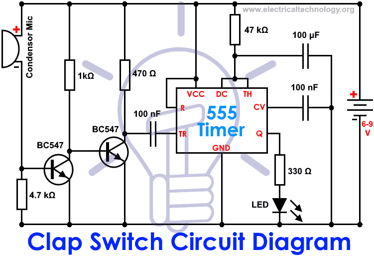 clap switch circuit electronic project using  timer, circuit diagram