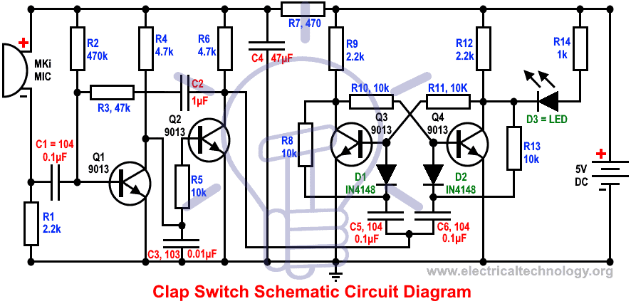 Clap Switch Circuit without 555 Timer