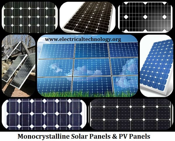 Monocrystalline solar panel and PV panels