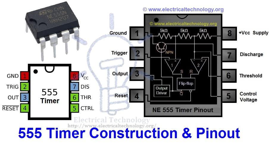 Timer 555 pinouts construction working types pinout diagram
