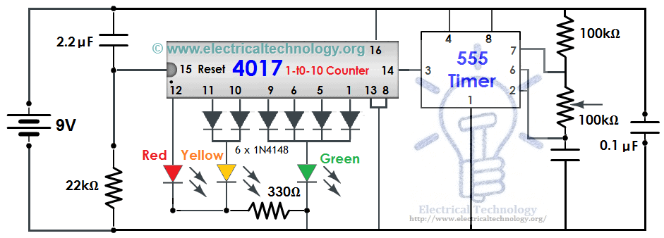 traffic light control electronic project using    timer, circuit diagram