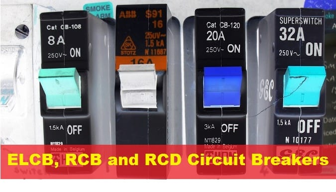 ELCB, RCB and RCD Circuit Breakers