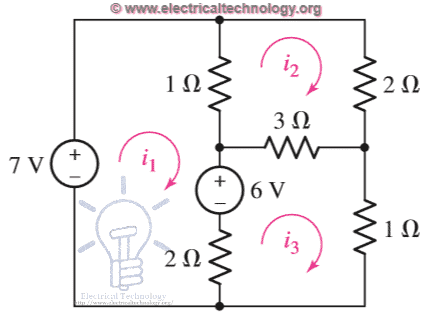 solving linear electric circuit of 3 equations by cramer's rule  example