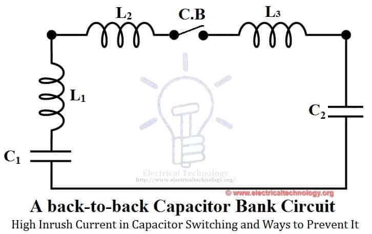 A back-to-back capacitor bank circuit. for high inrush current in capacitive switching and presentation
