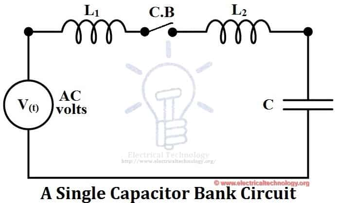 A single capacitor bank circuit and Synchronous Switching