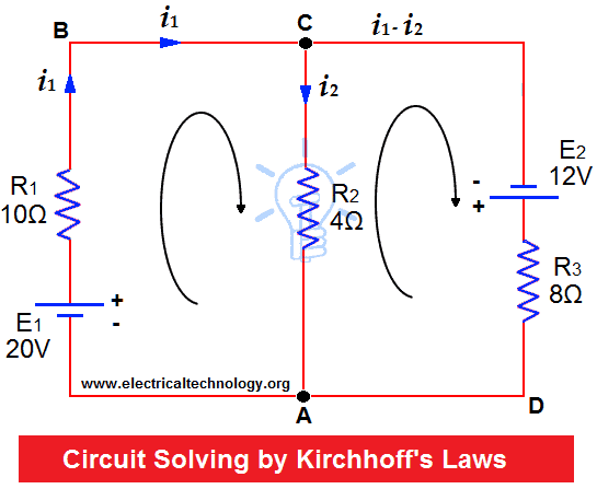 Kirchhoffs Current Voltage Law KCL KVL Solved Example