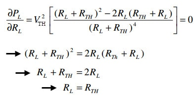 Formula of Maximum Power Transfer Theorem in DC Circuit