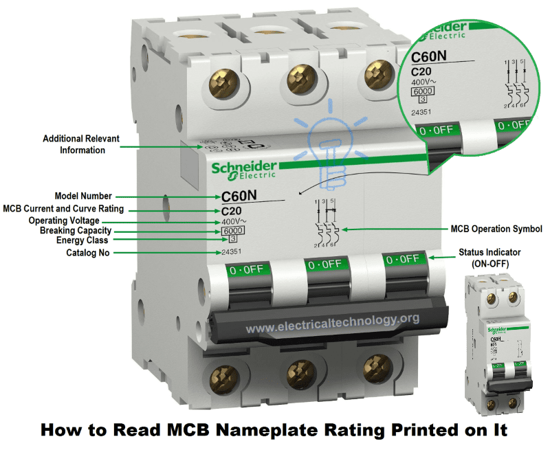 How to Read MCB Nameplate Data Rating Printed on it?
