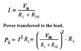 Maximum Power Transfer Theorem expression DC Circuit formula