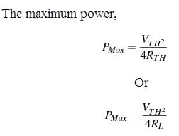 Maximum Power Transfer Formula in AC Circuits