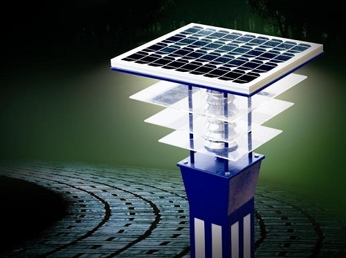 Solar system for outdoor lights for energy conservation in buildings
