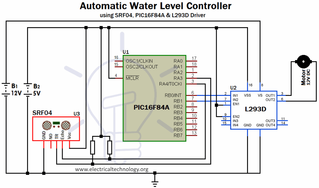 Circuit Diagram of Fully Automatic Water Level Controller using SRF04, PIC16F84A , L293D