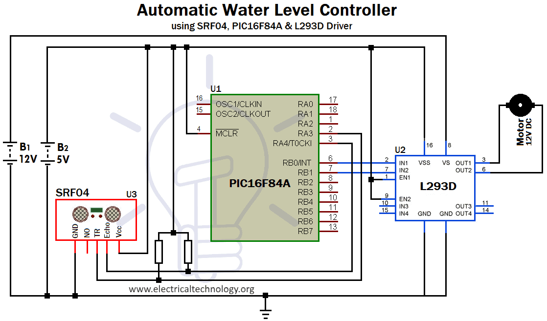 Full Automatic Water Level Controller using SRF04, L293D ...