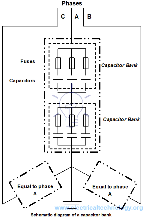 Schematic diagram of a capacitor bank