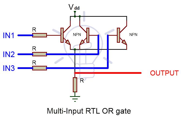 Multi Input Resistor-Transistor Logic (RTL) OR Gate