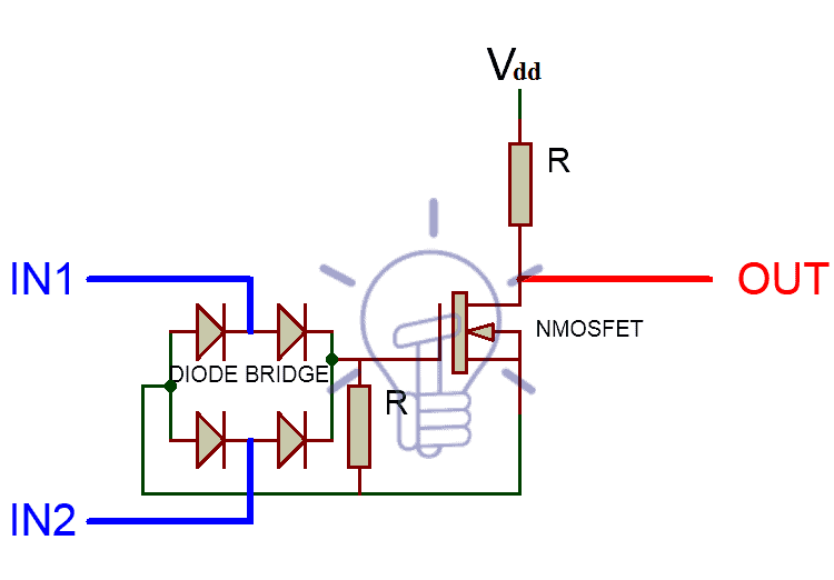 XNOR schematic using NMOSFET and diodes