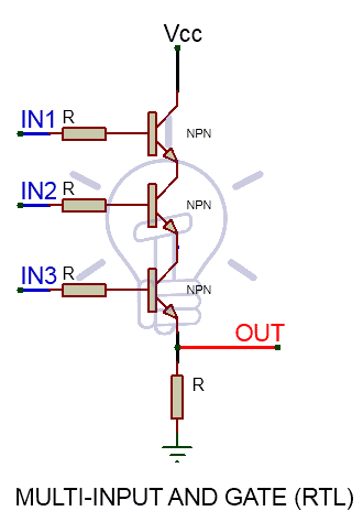 Resistor-Trasnsistor Logic RTL AND Gate