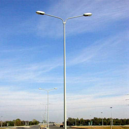 Lighting pole with two brackets