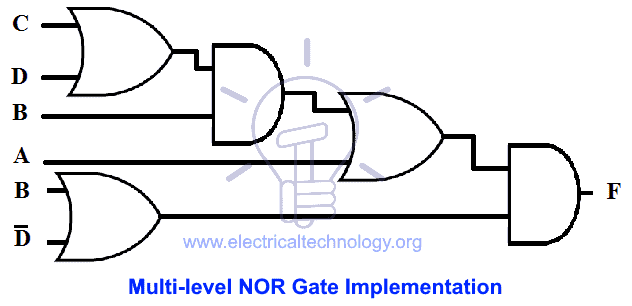 Multi-level NOR Gate Implementation