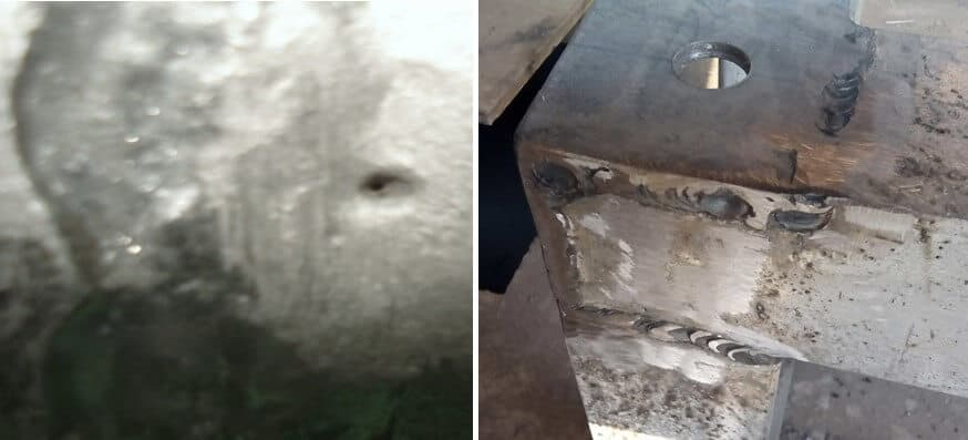 Welding porosity (left) and heterogeneity of the welding cord (right)