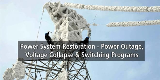 Power System Restoration - Outage, Voltage Collapse & Switching Programs